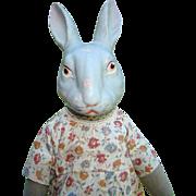 Antique Rabbit Doll Composition Shoulder Head Gray Flannel Body Original 16 Inch Rare