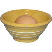 Old Brush McCoy Yellow Ware Smallest Nesting Bowl 4.5 Inch 3 White Bands