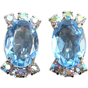 Vintage Blue Rhinestone Oval Clip Earrings with Aurora Borealis Chatons