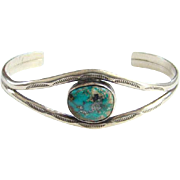 Vintage Southwestern Sterling Morenci Turquoise Cuff Bracelet Native American Navajo