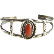 Vintage Native American Red Coral Cuff Bracelet Sterling Silver Signed HJ