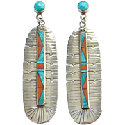 Vintage Zuni Turquoise Coral Inlay Big Feather Pierced Earrings Hallmarked Sterling