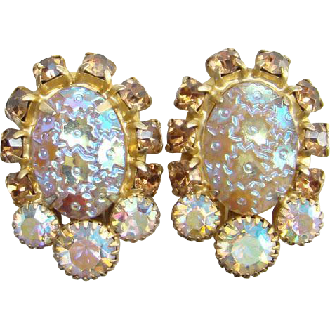 Juliana Pressed Dimple Glass and Topaz Rhinestone Clip Earrings DeLizza and Elster