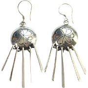 Native American Navajo I. Kee Sterling Silver Concho Earrings with Fringe Dangles