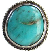 Vintage Morenci Turquoise Ring Native American Navajo Size 6 Sterling Silver