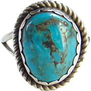 Vintage Navajo Morenci Turquoise Ring Size 7 Sterling Silver Native American