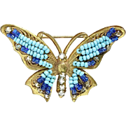 Miriam Haskell Turquoise Blue Seed Bead and Rhinestone Filigree Butterfly Pin Brooch Signed
