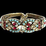 Vintage Rare Coro Hinged Bangle Bracelet with Turquoise Red Rhinestones Signed