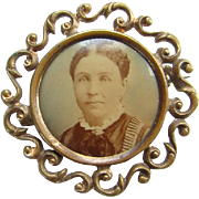 Antique Victorian Photo Portrait Pin Brooch Mourning Jewelry 19th Century