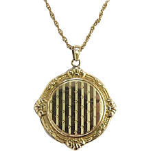 Antique Walter E. Hayward 12K Gold Filled GF Photo Locket Necklace No Monogram