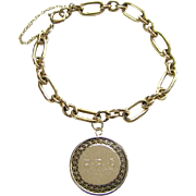 C1950s Charm Bracelet 12K GF Gold Filled Monogrammed R.P.G.