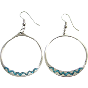 Southwestern Pierced Hoop Earrings Turquoise Chip Mosaic Sterling Silver