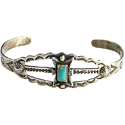 Vintage Maisel's Indian Trading Post CHILD SIZE Native American Turquoise Cuff Bracelet Fred Harvey Period Sterling Silver