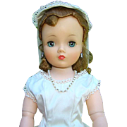 Madame Alexander Cissy Doll in 1950s Vintage White Satin Wedding Gown Veil Stunning