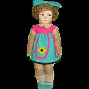 C1930 French Raynal Lenci Type Felt Girl Doll Molded Face Cloth Body Original Clothing 19 Inch