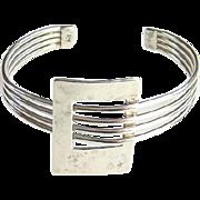 Vintage Modernist Style 925 Sterling Silver Cuff Bracelet Hand Hammered
