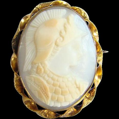 Edwardian Shell Cameo Brooch Pin 10K Gold Filled Goddess Athena Female Warrior