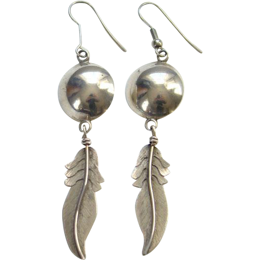 Vintage Southwestern Sterling Silver Pierced Earrings with Large Feather Dangle