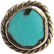 Southwestern Turquoise Ring Sterling Silver Size 5 Native American Vintage