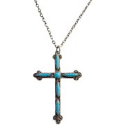 Bell Trading Post Needlepoint Turquoise Religions Cross Pendant Necklace Marked Sterling