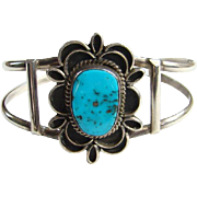 Vintage Native American Navajo Cuff Bracelet Morenci Turquoise Sterling Silver
