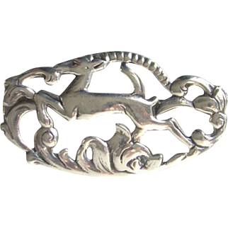 Vintage Sterling Silver Frame Brooch Figural Leaping Deer Foliage Art Nouveau Style