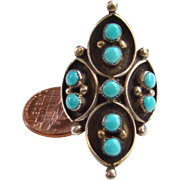 Southwestern Native American Zuni Snake Eye Shadowbox Turquoise Ring Size 6 Sterling Silver