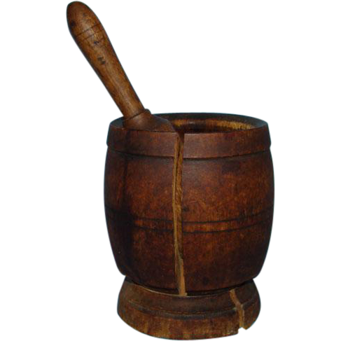 18th Century Antique Primitive Wooden Mortar and Pestle Lathe Turned Natural Dark Patina