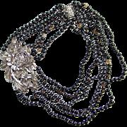Vintage Multi Strand Sterling Silver Floral Necklace Black Hematite Quartz Bead Drape