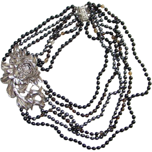 Vintage Multi Strand Sterling Silver Floral Necklace Black Hematite Quartz Bead Drape