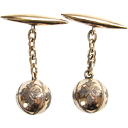 Vintage 10K Gold Cuff Links Etched Sphere Ball