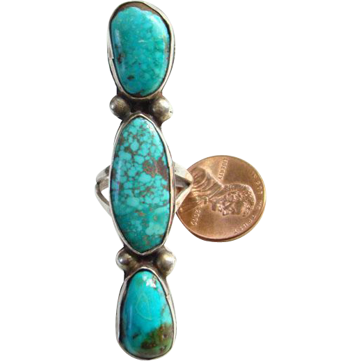 Vintage Native American Navajo 3 Stone Turquoise Statement Ring Size 6 Sterling Silver Handmade