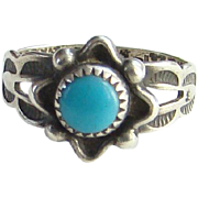 Bell Trading Post Fred Harvey Era Child Navajo Turquoise Ring Size 3.25 Marked Sterling