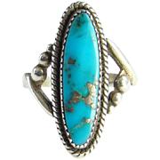 Vintage WM Wheeler Co Native American Morenci Turquoise Ring Size 9 Marked Sterling