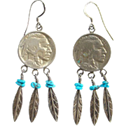 Southwestern Native American Buffalo Nickel Sterling Silver Pierced Earrings Turquoise Feathers Bohemian Hippie