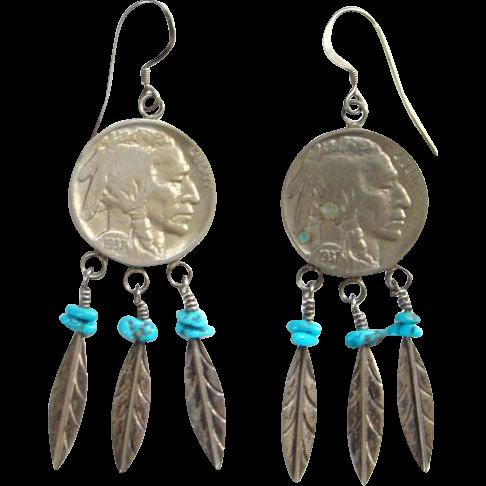 Southwestern Native American Buffalo Nickel Sterling Silver Pierced Earrings Turquoise Feathers Bohemian Hippie