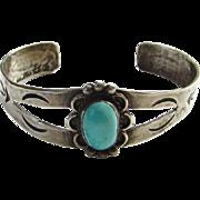 Vintage Southwestern Native American Turquoise Cuff Bracelet Sterling Silver Handmade Boho Bohemian Chic