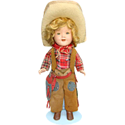 1936 Rare Shirley Temple Texas Ranger Cowgirl Doll 11 Inch Ideal All Original