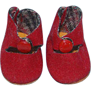 Vogue Ginny Doll Red Suede Center Snap Shoes Fuzzy Bottom Greek Key Snap Mint