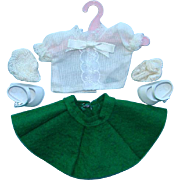 1958 Vogue Ginny BKW Separates White Blouse Green Felt Skirt 8 Inch HP Doll