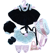 1957 Vogue Ginny Doll Black Velvet Dress Apron Hat Outfit for Bent Knee Walker