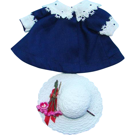 1956 Vogue Ginny Doll Separate Blue Coat White Hat Outfit Medford MA Label