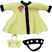 1956 Vogue Ginny Doll Yellow Felt Separate Coat Black Velvet Bandeau Hat