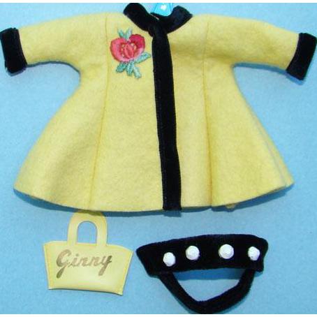 1956 Vogue Ginny Doll Yellow Felt Separate Coat Black Velvet Bandeau Hat