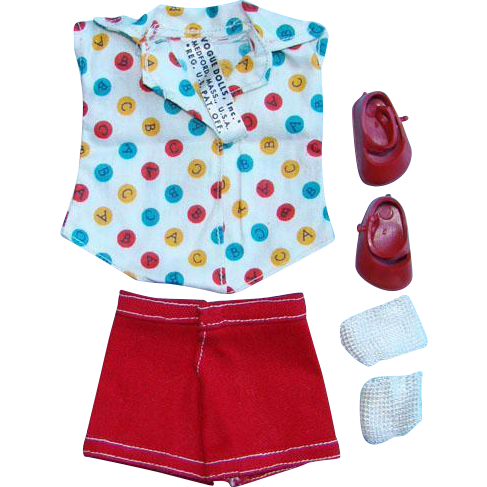 1954 Vogue Ginny Doll 128 For Rain or Shine Shirt Shorts Set With Shoes