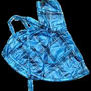 1950s Vogue Ginny Doll Blue Plaid Vinyl Plastic Rain Cape with Hood