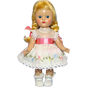 C1954 Vogue Ginny Doll Blond Braid Painted Lash Straight Leg Walker 8 Inch Hard Plastic