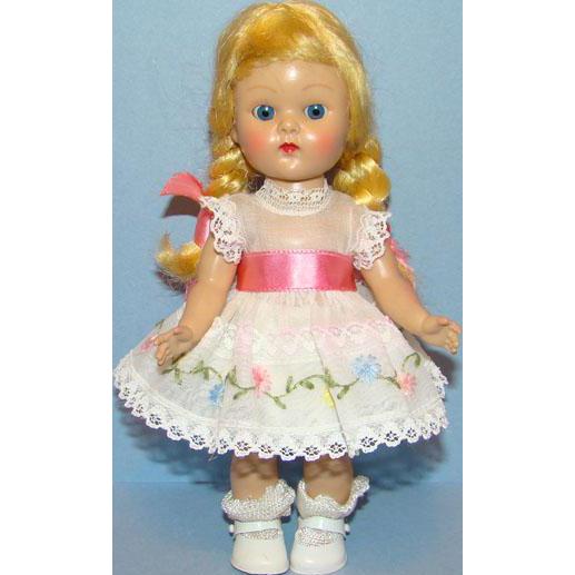 C1954 Vogue Ginny Doll Blond Braid Painted Lash Straight Leg Walker 8 Inch Hard Plastic