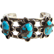 Native American Navajo Morenci Turquoise Cuff Bracelet Gorgeous Stones Sterling Silver