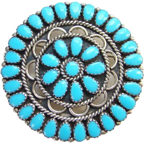Navajo Larry Moses Begay Turquoise Cluster Pendant Brooch Pin Sterling Silver Signed LMB